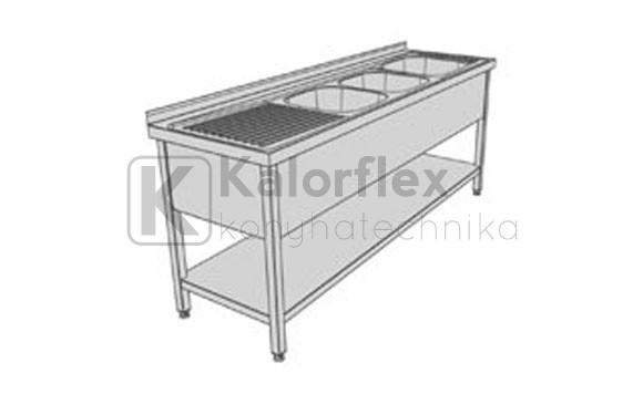 Hárommedencés lábon álló ipari mosogató baloldali csepegtetővel, három oldali medencetakarással és alsó polccal