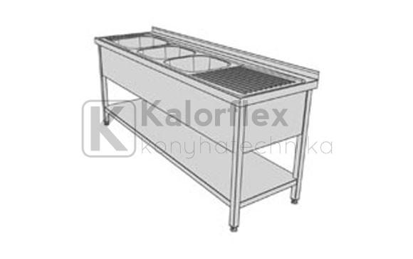Hárommedencés lábon álló ipari mosogató joboldali csepegtetővel, három oldali medencetakarással és alsó polccal