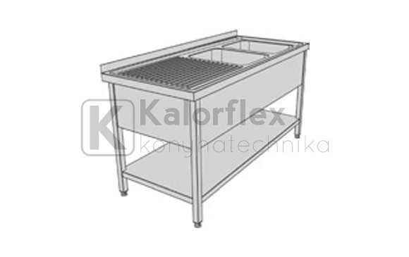 Kétmedencés lábon álló ipari mosogató baloldali csepegtetővel, medencetakaróval és alsó polccal. Méret: 1800x700x850 mm, medence: 600x500x300 mm.