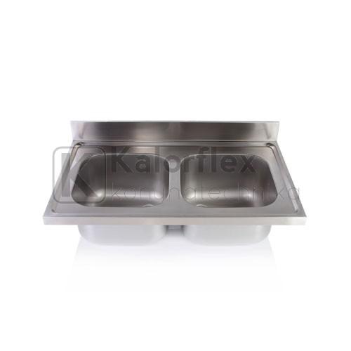 Kétmedencés mosogatófedlap. Méret: 1000x600 mm, medencék: 400x400x250 mm.
