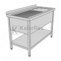 Egymedencés lábon álló ipari mosogató baloldali csepegtetővel, három oldali medencetakarással és alsó polccal