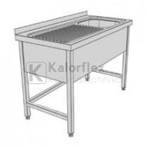 Egymedencés lábon álló ipari mosogató baloldali csepegtetővel és három oldali medencetakarással