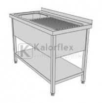 Egymedencés lábon álló ipari mosogató jobboldali csepegtetővel, három oldali medencetakarással és alsó polccal
