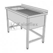 Egymedencés lábon álló ipari mosogató jobboldali csepegtetővel és három oldali medencetakarással