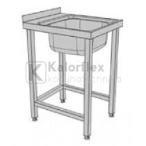 Egymedencés lábon álló ipari mosogató. Méret: 500x600x850 mm, medence: 400x500x250 mm.