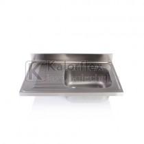 Egymedencés mosogatófedlap csepegtetővel, balos. Méret: 1000x600 mm, medence: 500x400x250 mm.
