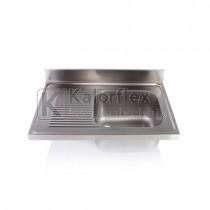 Egymedencés mosogatófedlap csepegtetővel, balos. Méret: 1000x700 mm, medence: 500x500x300 mm.