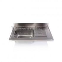 Egymedencés mosogatófedlap csepegtetővel, jobbos. Méret: 1000x600 mm, medence: 500x400x250 mm.