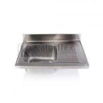 Egymedencés mosogatófedlap csepegtetővel, jobbos. Méret: 1000x700 mm, medence: 500x500x300 mm.