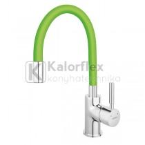 Ferro ZUMBA konyhai csaptelep, elasztikus zöld kifolyóval