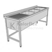 Hárommedencés lábon álló ipari mosogató baloldali csepegtetővel és három oldali medencetakarással