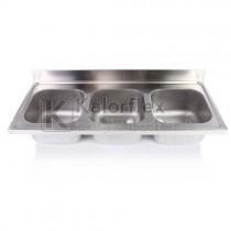 Hárommedencés mosogatófedlap. Méret: 1400x600 mm, medencék: 400x400x250 mm.