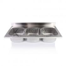 Hárommedencés mosogatófedlap. Méret: 1800x700 mm, medencék: 500x500x300 mm.