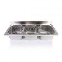 Hárommedencés mosogatófedlap. Méret: 1800x700 mm, medencék: 500x600x300 mm.