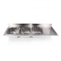 Hárommedencés mosogatófedlap csepegtetővel, jobbos. Méret: 1900x600 mm, medencék: 400x400x250 mm.