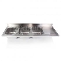 Hárommedencés mosogatófedlap csepegtetővel, jobbos. Méret: 2400x700 mm, medencék: 500x500x300 mm.