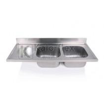 Kétmedencés mosogatófedlap szférikus kézmosóval, balos. Méret: 1400x600mm