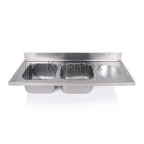 Kétmedencés mosogatófedlap szférikus kézmosóval, jobbos. Méret: 1400x600mm