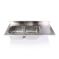 Kétmedencés mosogatófedlap csepegtetővel, jobbos. Méret: 1600x700 mm, medencék: 500x500x300 mm.