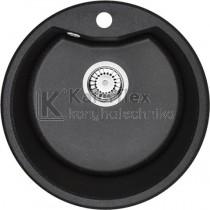 Deante FIESTA SOLIS kör alakú gránit mosogató - fekete színben