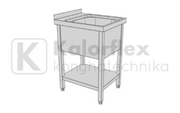 Egymedencés lábon álló ipari mosogatók alsó polccal és oldaltakaróval