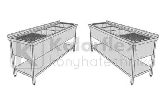 hárommedencés lábon álló ipari mosogatók csepegtetővel alsó polccal és oldaltakaróval